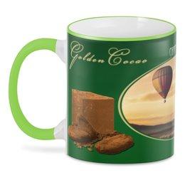 "3D кружка ""Golden Cacao "" - мотивация, воздушный шар, chocolate, to fly, golden life"