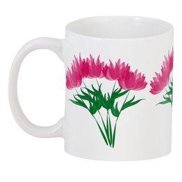 """3D кружка """"розовые абстрактные цветы"""" - цветы, розовый, подарок, букет"""