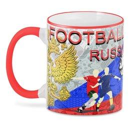 "3D кружка ""FOOTBALL RUSSIA"" - мяч, флаг, мундиаль, с юмором"