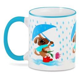 """3D кружка """"Пес с зонтом и цветком"""" - праздник, цветок, пес, дождь, зонт"""