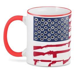 """3D кружка """"Америка."""" - лицо, политика, флаг, сша, оружие"""