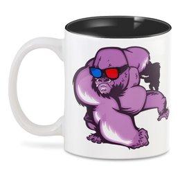 """3D кружка """"Горилла"""" - очки, обезьяна, горилла, 3d очки"""