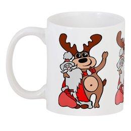 """3D кружка """"Дед мороз с оленем"""" - праздник, новый год, радость, дед мороз, олень"""