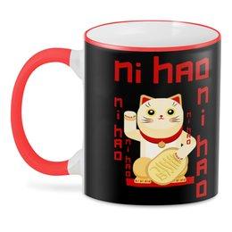 """3D кружка """"Манеки неко"""" - кот, деньги, китайский, талисман, фэншуй"""