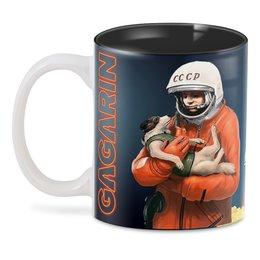 """3D кружка """"GAGARIN&DOG"""" - космос, ракета, космонавт, юрий гагарин, с собакой"""