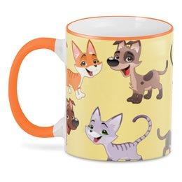 "3D кружка ""Котёнок и щенок"" - кот, кошка, собака, пёс, животное"