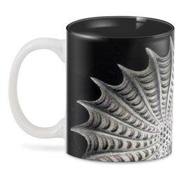 """3D кружка """"Наутилус"""" - черно-белый, ракушка, эрнст геккель, красота форм в природе, стильный"""
