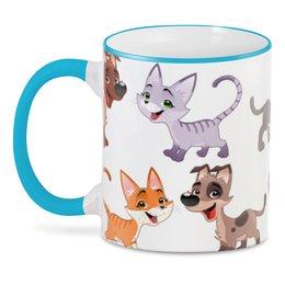 """3D кружка """"Котёнок и щенок"""" - кот, щенок, собака, пёс, животное"""