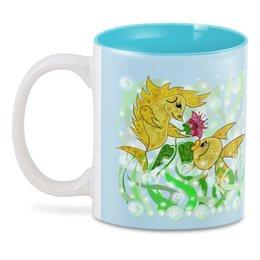 """3D кружка """"Влюбленные рыбки"""" - любовь, цветок, подарок, золотая рыбка, рыбка-конек"""