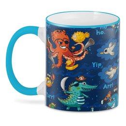 """3D кружка """"Пират"""" - море, осьминог, животное, пират, акула"""