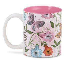 "3D кружка ""Летние цветы"" - бабочки, лето, цветы"