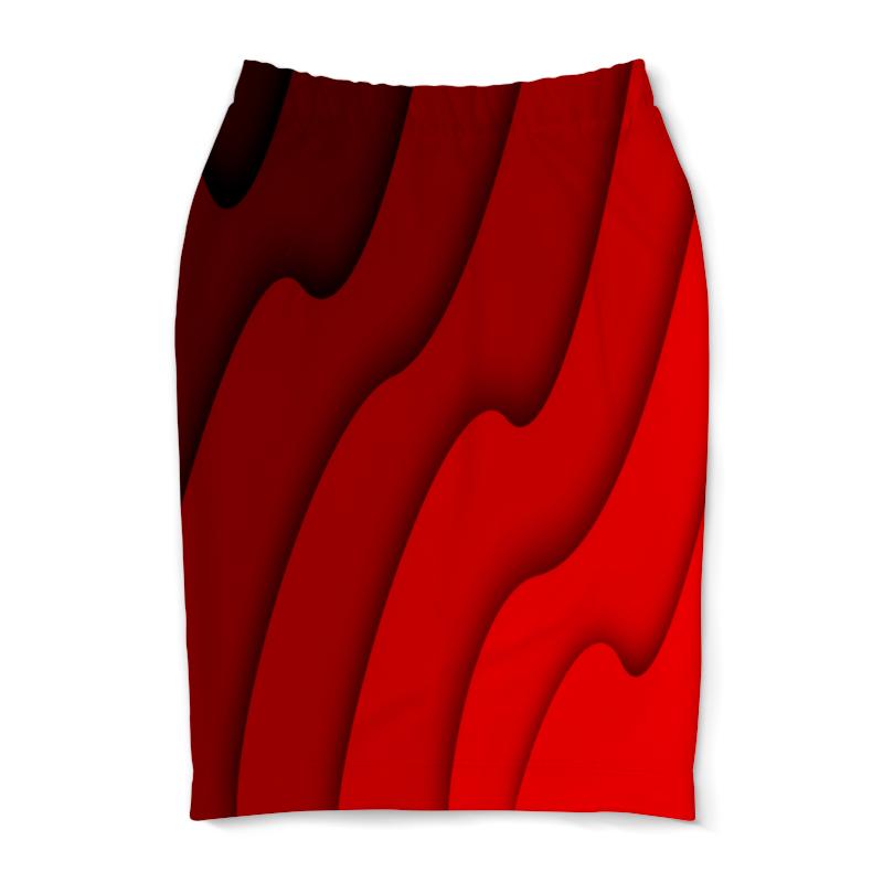 Юбка-карандаш Printio Красные волны юбка карандаш printio цветные волны