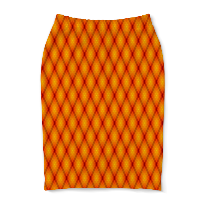 Юбка-карандаш Printio Клетка оранжевая облепиха оранжевая сила муж 1 жен 1