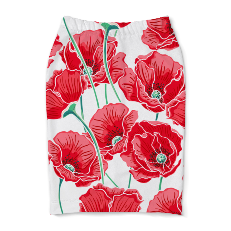 Юбка-карандаш Printio Красные маки юбка карандаш printio полевые маки