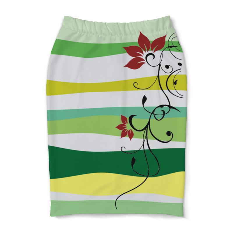 Юбка-карандаш Printio Тропические волны юбка карандаш printio цветные волны