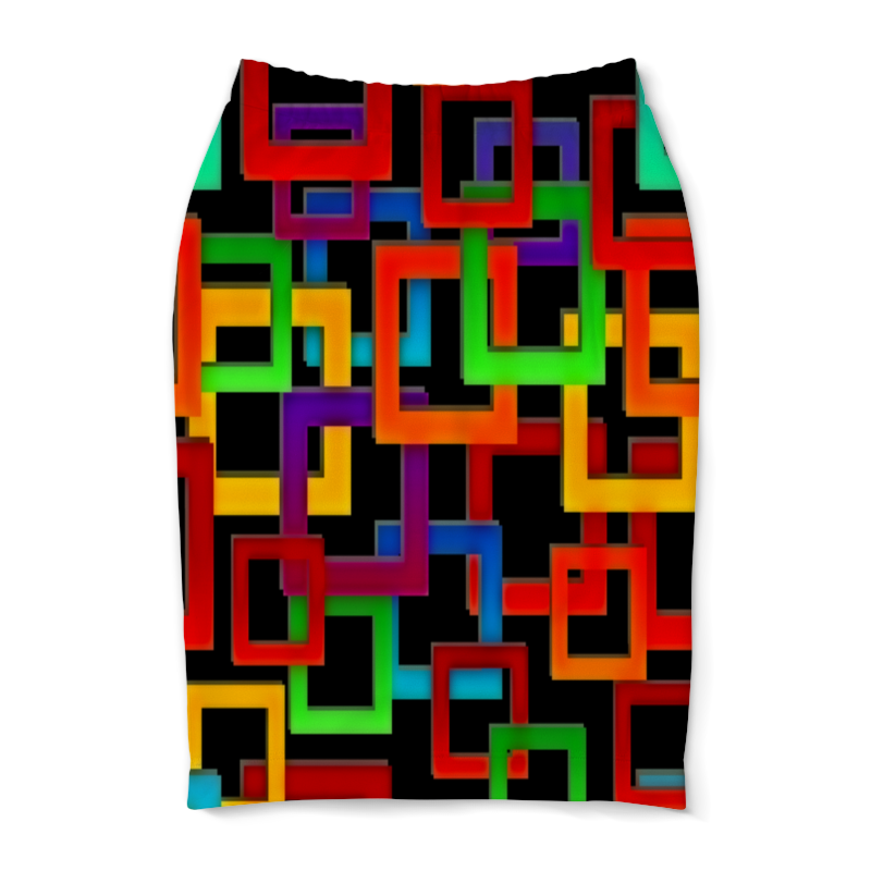 Юбка-карандаш Printio Цветные квадраты юбка карандаш printio цветные волны