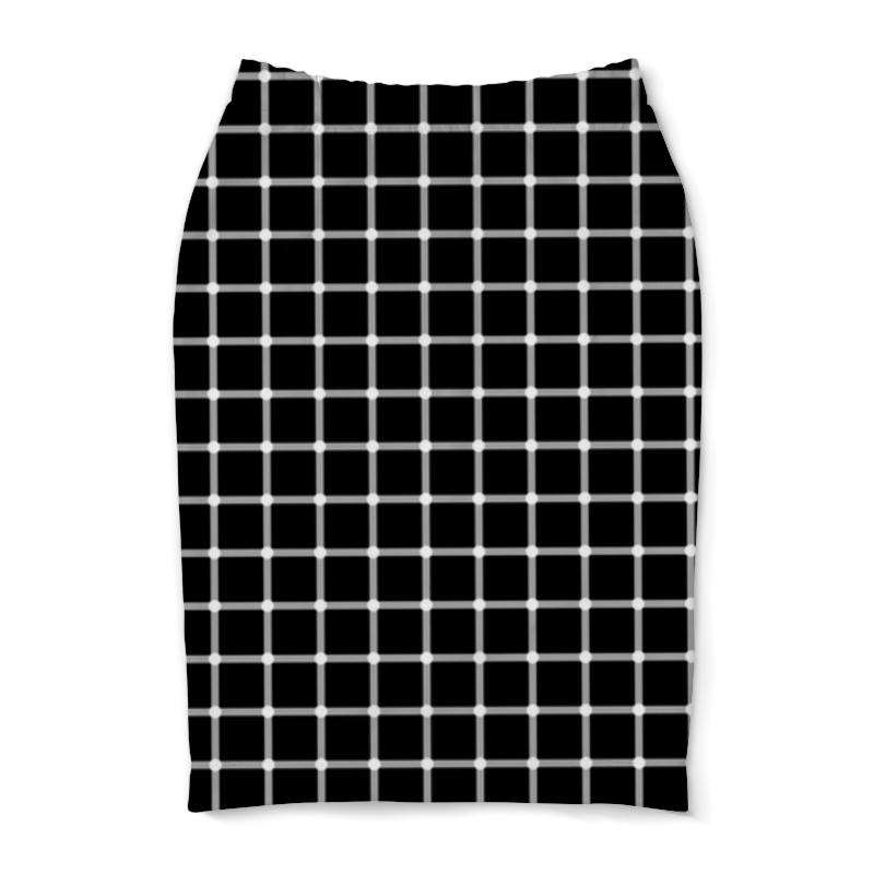 Юбка-карандаш Printio Чёрная клетка пересечения