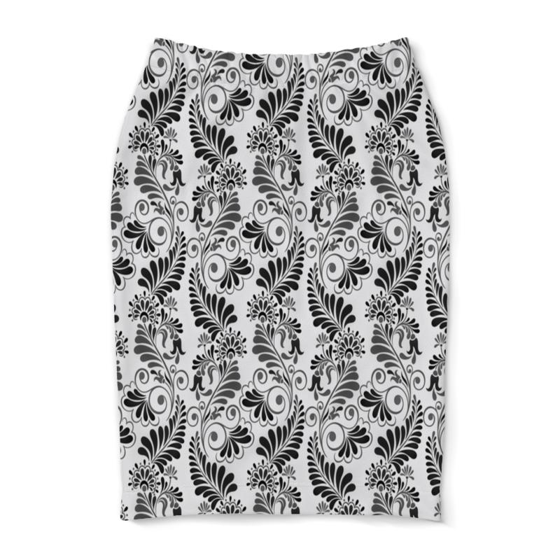 Юбка-карандаш Printio Черно белая роспись юбка белая ido ут 00015983