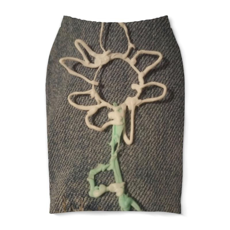 Юбка-карандаш Printio Цветочек юбка короткая из джинсовой ткани
