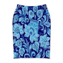 """Юбка-карандаш """"Голубые цветы"""" - цветы, хохлома, природа, букет, роспись"""