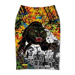 "Юбка-карандаш ""Черный Тигр"" - кот, граффити, черный, тигр, урбанистический"