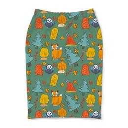 "Юбка-карандаш ""Лесной паттерн"" - арт, осень, детский, паттерн"