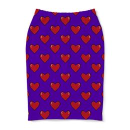 "Юбка-карандаш ""Сердечки"" - сердце, любовь, 14 февраля, красное сердце"