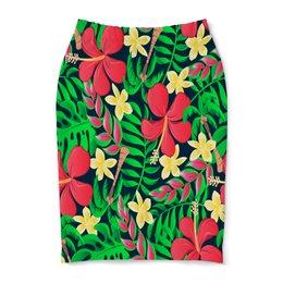 """Юбка-карандаш """"Тропические цветы"""" - цветочки, листья, природа, цветы, тропики"""