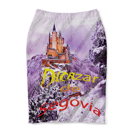"""Юбка-карандаш """"Испанский замок Сеговия."""" - сиреневый, фиолетовый, испания, полоски, крепость"""