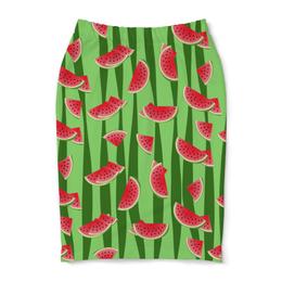 """Юбка-карандаш """"Арбуз"""" - полоска, красный, ягода, зеленый, семена"""
