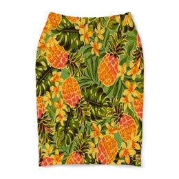 """Юбка-карандаш """"Ананасы"""" - узор, листья, фрукты, тропики, ананасы"""