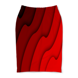 """Юбка-карандаш """"Красные волны"""" - красный, полосы, волны, текстура, линии"""