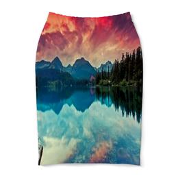 """Юбка-карандаш """"Природа"""" - деревья, горы, река, озеро, природы"""