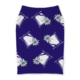 """Юбка-карандаш """"ромашка в раме"""" - стиль, купить, с цветами, с узором, юбку"""
