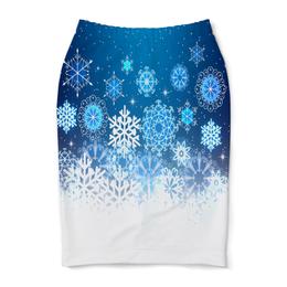 "Юбка-карандаш ""Узор зимний"" - зима, снег, снежинки, новый год, узор"