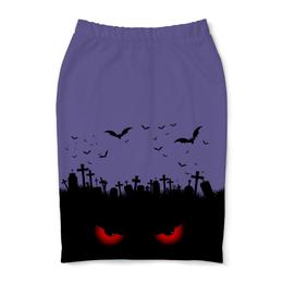 """Юбка-карандаш """"Взгляд оттуда"""" - рисунок, взгляд, хэллоуин, летучие мыши, кладбище"""