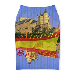 """Юбка-карандаш """"Средневековой испанский замок Сеговия."""" - голубой, испания, полоски, крепость, испанский флаг"""