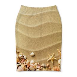 "Юбка-карандаш ""Ракушки"" - море, песок, ракушки, юг"