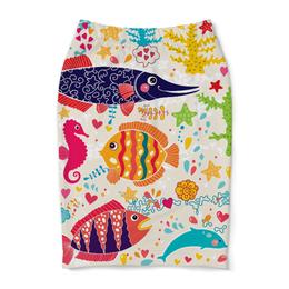 """Юбка-карандаш """"Обитатели моря 2"""" - море, рисунок, рыбки, обитатели моря"""