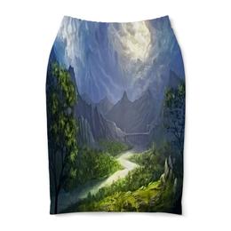"Юбка-карандаш ""Пейзаж красками"" - природа, лес, река, пейзаж, горы"