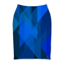 """Юбка-карандаш """"Синий абстрактный"""" - графика, синий, краски, абстракция, треугольники"""