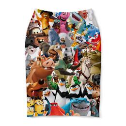 """Юбка-карандаш """"Cartoons"""" - мультяшки, мультфильм, для детей, персонажи, pixar"""