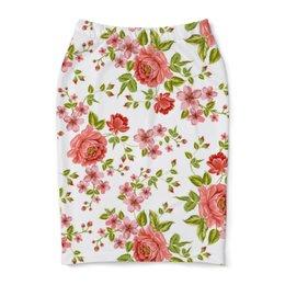 "Юбка-карандаш ""Цветы"" - розы, цветы"