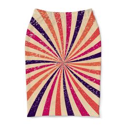 """Юбка-карандаш """"Полосатая"""" - радуга, полосы, винтаж, абстракция, лучи"""