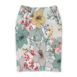 """Юбка-карандаш """"Цветочный сад"""" - природа, деревья, цветы, листья, узор"""