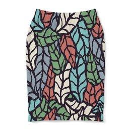 """Юбка-карандаш """"Узор листьев"""" - листья, природа, весна, листва, узор"""