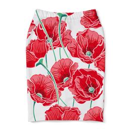 """Юбка-карандаш """"Красные маки"""" - цветы, ярко, природа, маки, красивые цветы"""