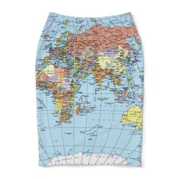 """Юбка-карандаш """"Карта мира"""" - мир, страны, карта, политика, география"""