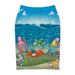 "Юбка-карандаш ""Обитатели моря"" - море, рифы, обитатели моря"