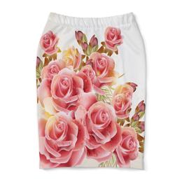 """Юбка-карандаш """"Букет роз"""" - цветы, розы"""